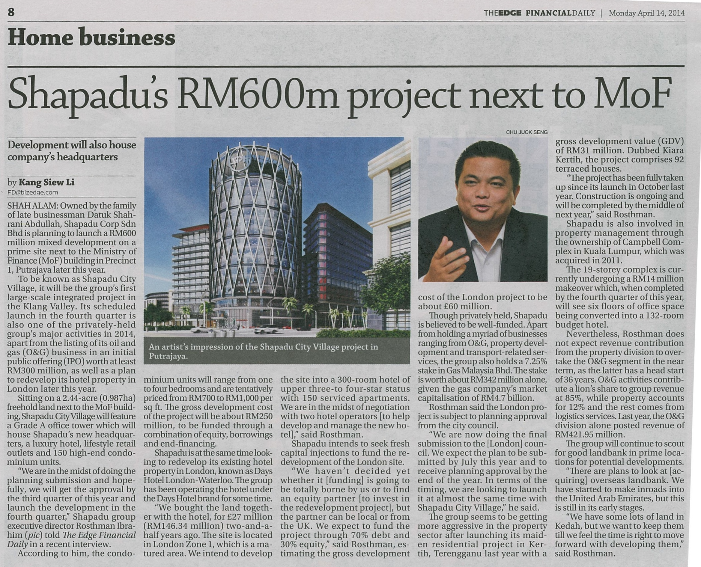 FinDaily14Apr14Shapadu600mProjectNextToMOF